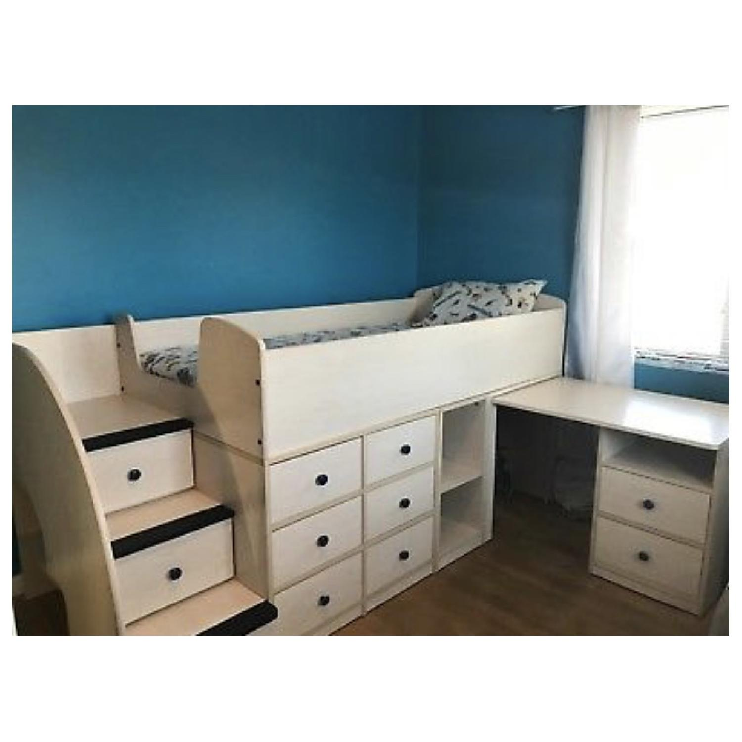 Natural Wood Twin Size Loft Bed w/ Desk & Storage Drawers - image-1