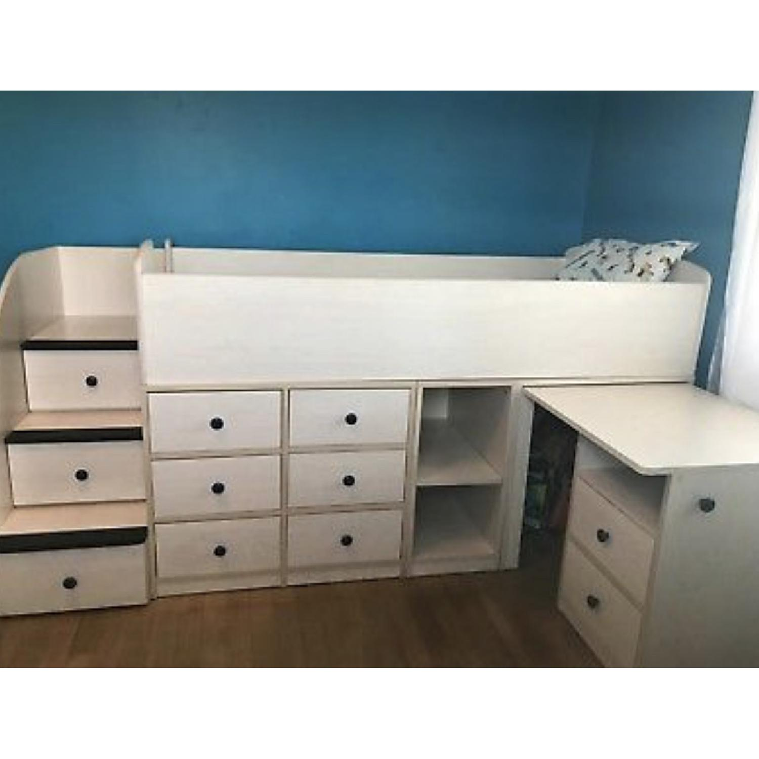 Natural Wood Twin Size Loft Bed w/ Desk & Storage Drawers - image-2