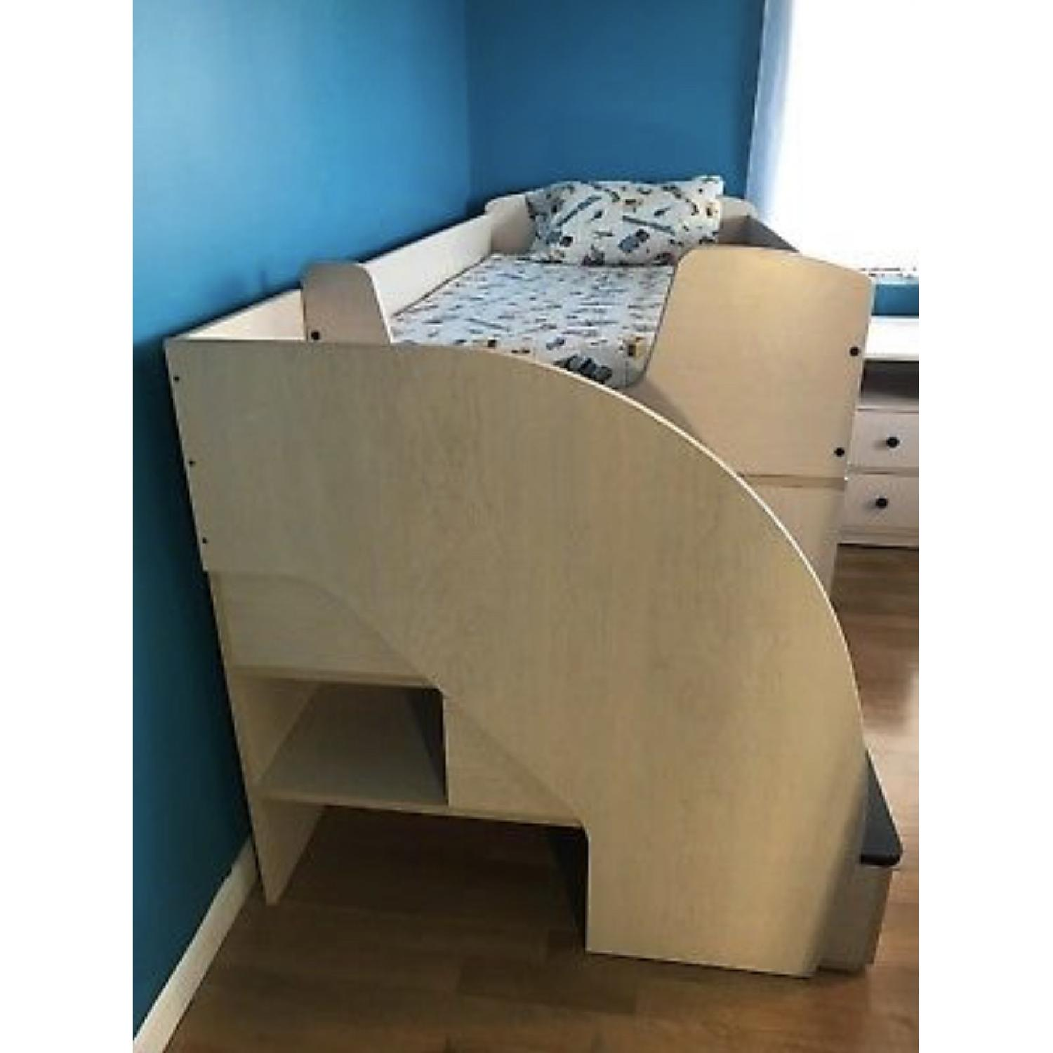 Natural Wood Twin Size Loft Bed w/ Desk & Storage Drawers - image-3