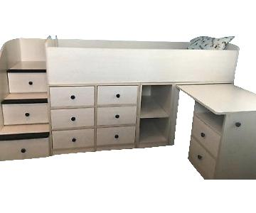 Natural Wood Twin Size Loft Bed w/ Desk & Storage Drawers