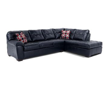 Bob's Black Faux Leather Sleeper Sectional Sofa