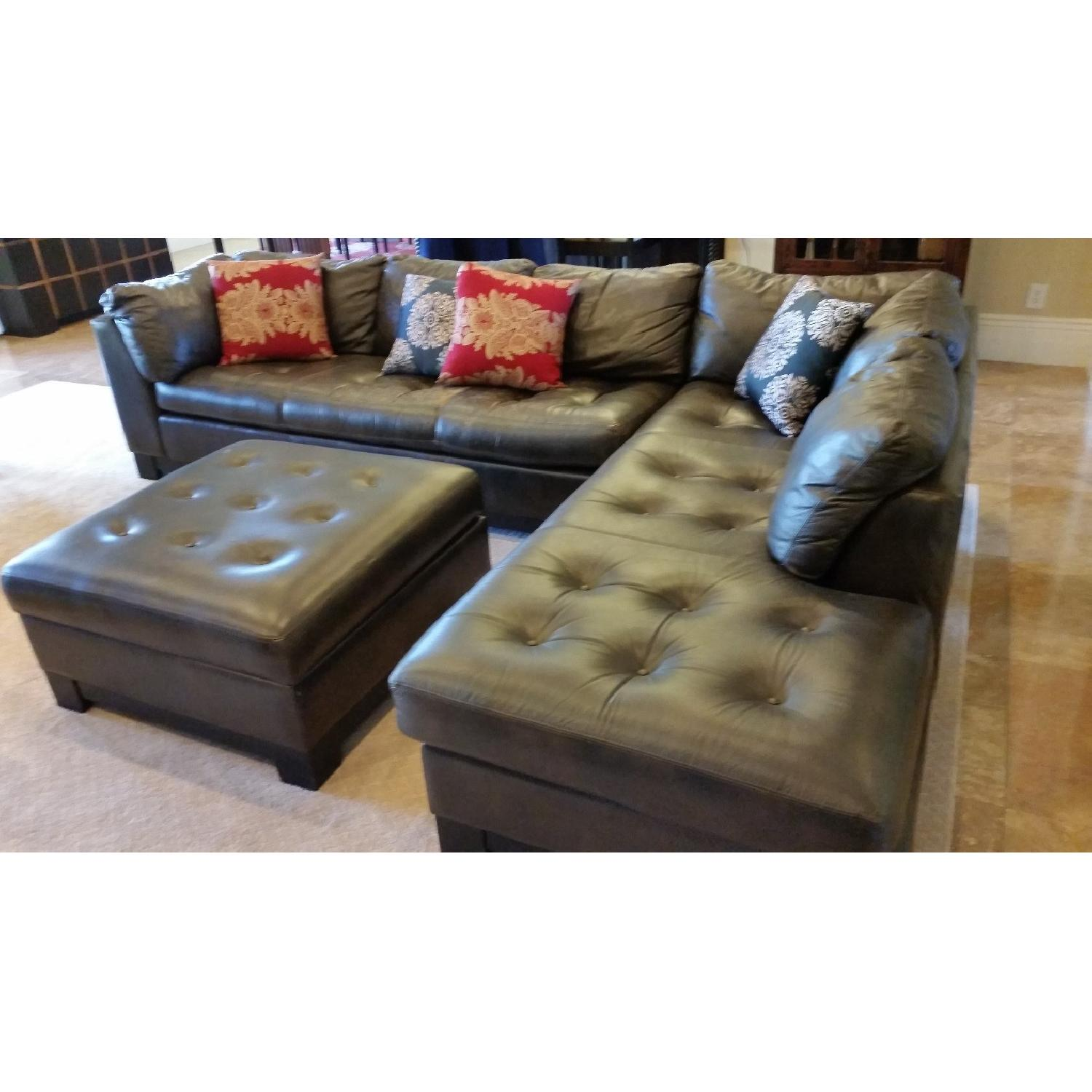 Brown Tufted Leather 2-Piece Sectional Sofa - image-3