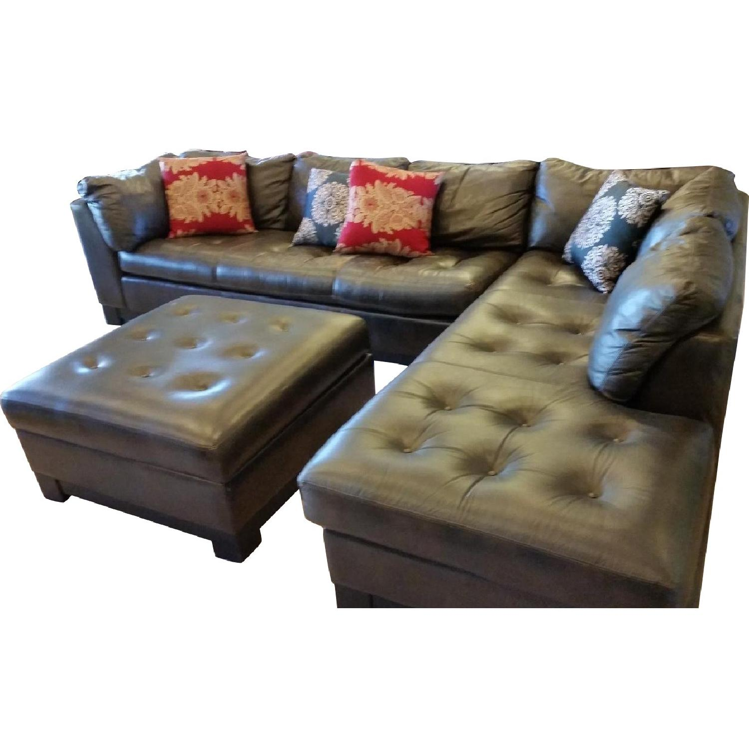 Brown Tufted Leather 2-Piece Sectional Sofa - image-0