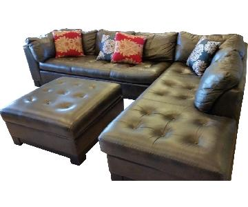 Brown Tufted Leather 2-Piece Sectional Sofa
