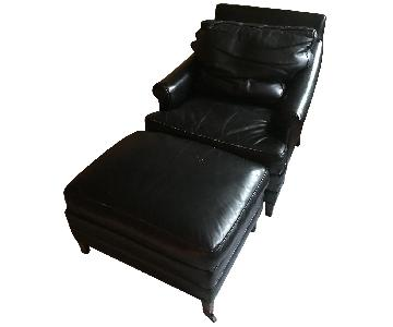 Knapp & Tubbs Black Leather Chair & Ottoman
