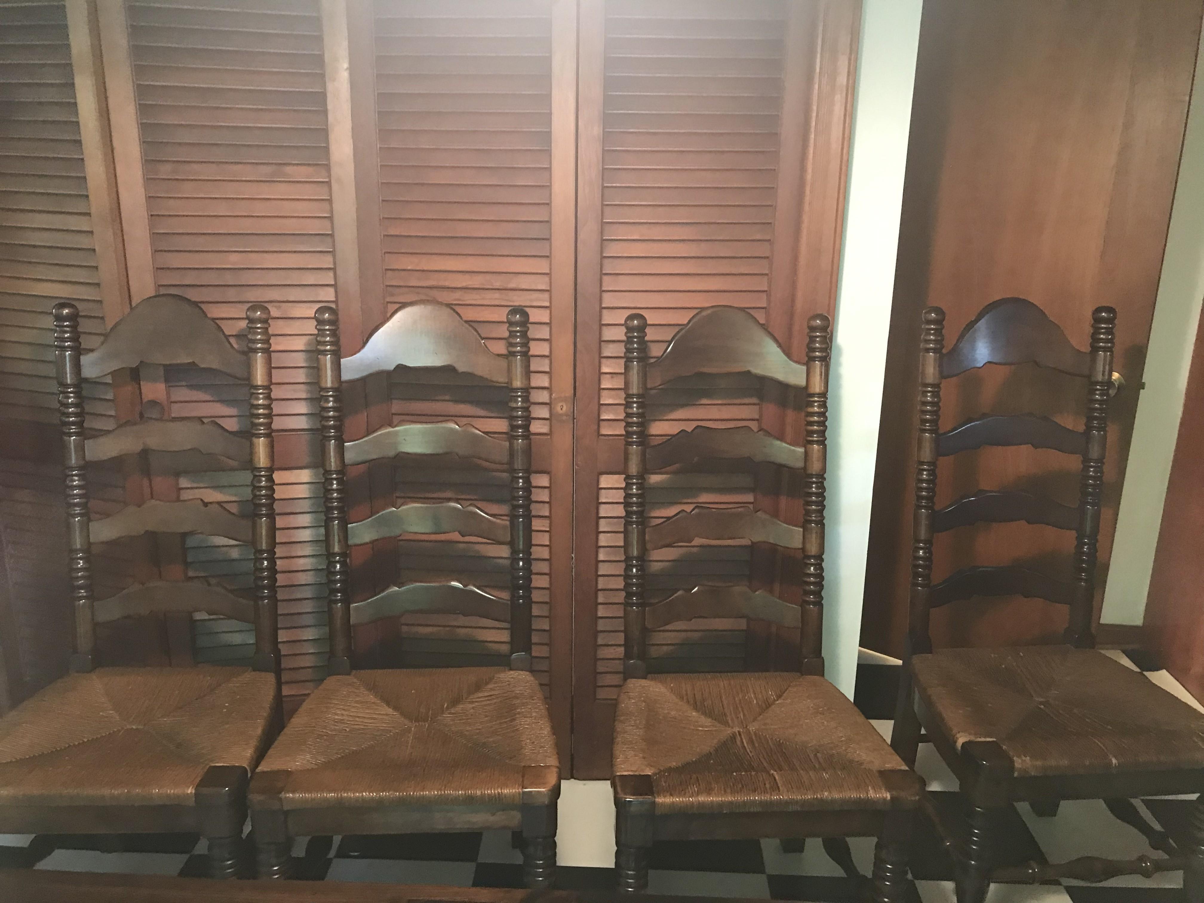 Vintage Farm Table w/ 4  Ladderback Chairs