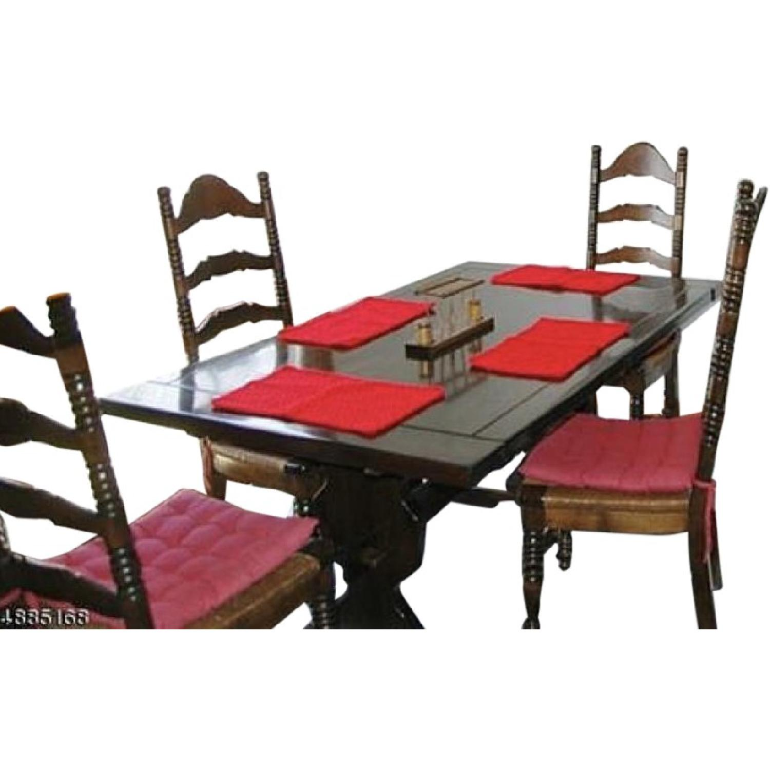 Vintage Farm Table w/ 4  Ladderback Chairs - image-0