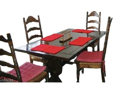 Vintage Farm Table w/ 4 Ladderback Chairs