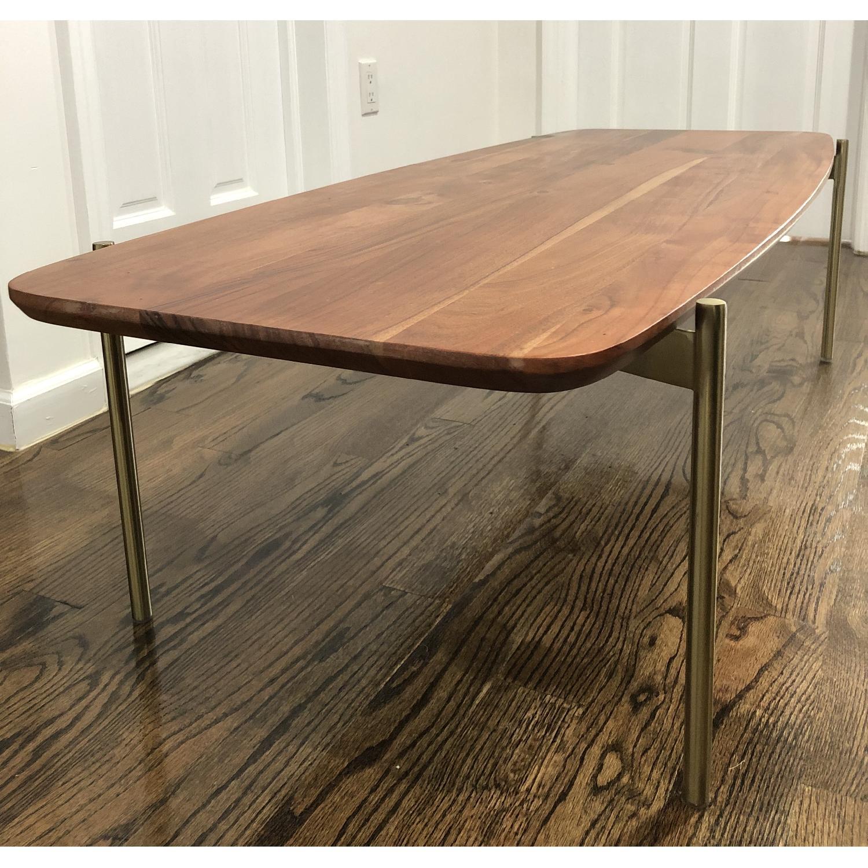 CB2 Wood & Brass Coffee Table - image-0