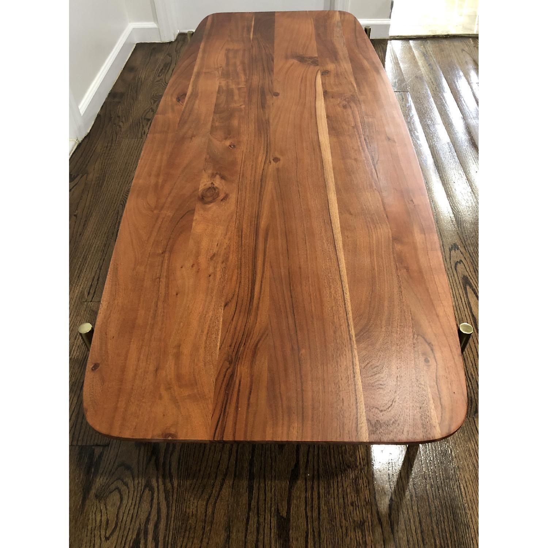 CB2 Wood & Brass Coffee Table - image-3