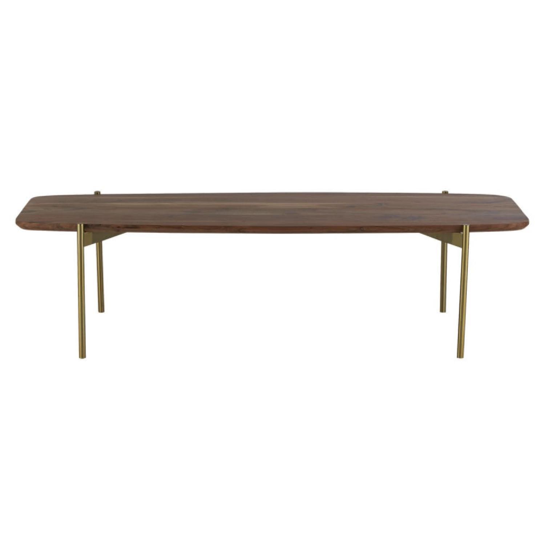 CB2 Wood & Brass Coffee Table - image-4
