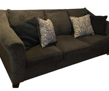 Navy Blue Fabric Sofa & Ottoman