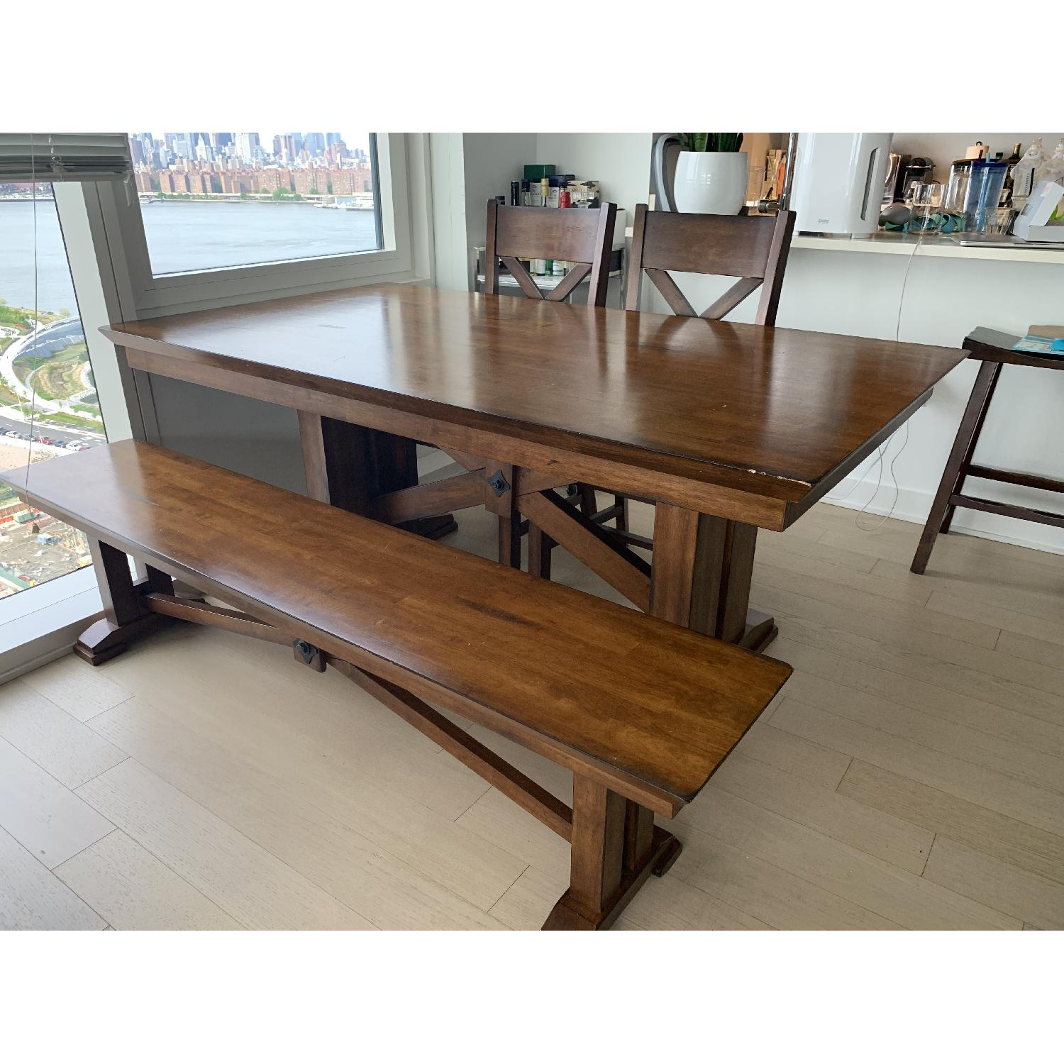 World Market Solid Wood Dining Table w/ 1 Bench + 2 Chairs - image-1