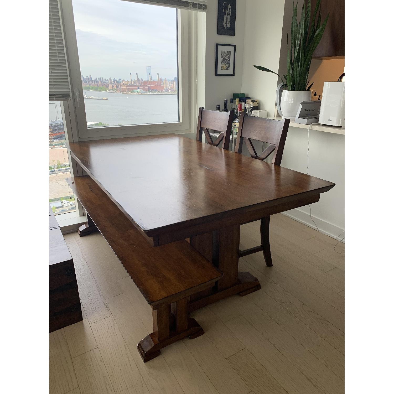 World Market Solid Wood Dining Table w/ 1 Bench + 2 Chairs - image-2