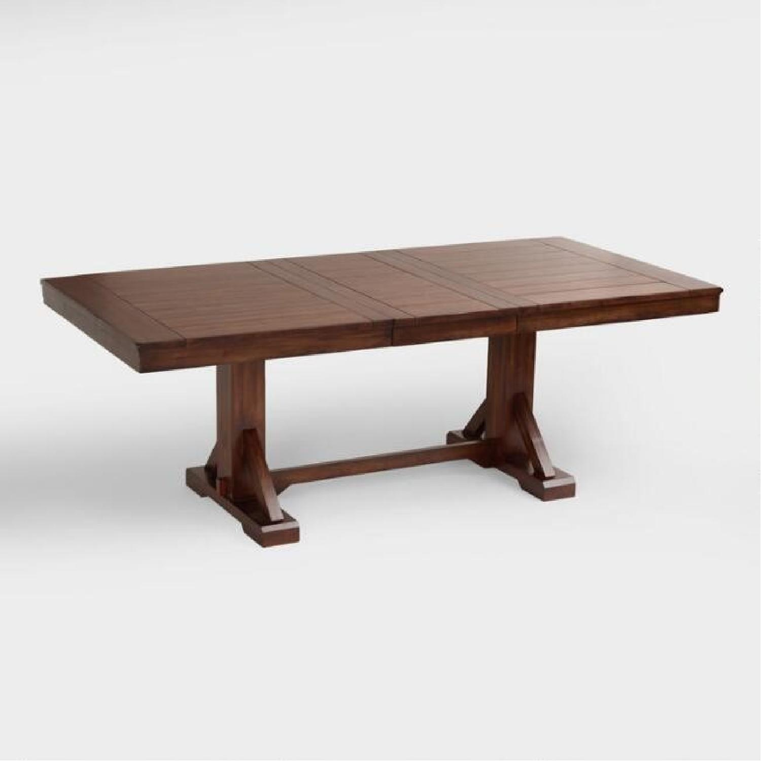 World Market Solid Wood Dining Table w/ 1 Bench + 2 Chairs - image-3