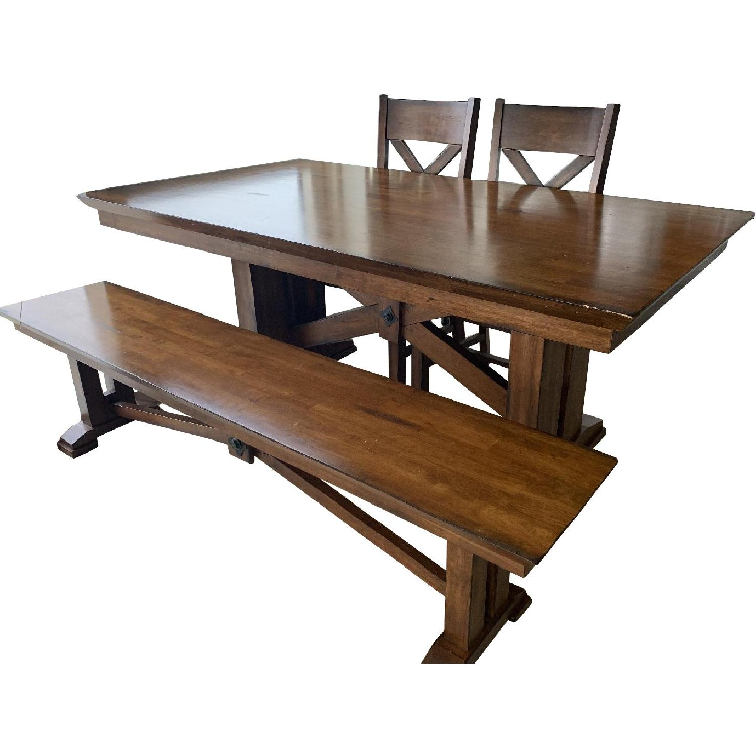 World Market Solid Wood Dining Table w/ 1 Bench + 2 Chairs - image-0