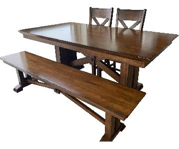 World Market Solid Wood Dining Table w/ 1 Bench + 2 Chairs