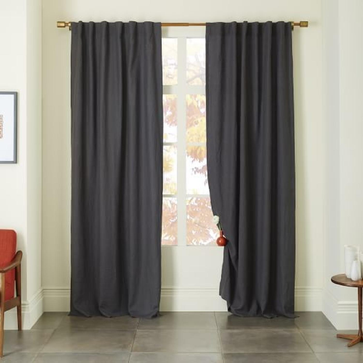 West Elm Belgian Linen Blackout Curtains w/ CB2 Curtain Rod-0