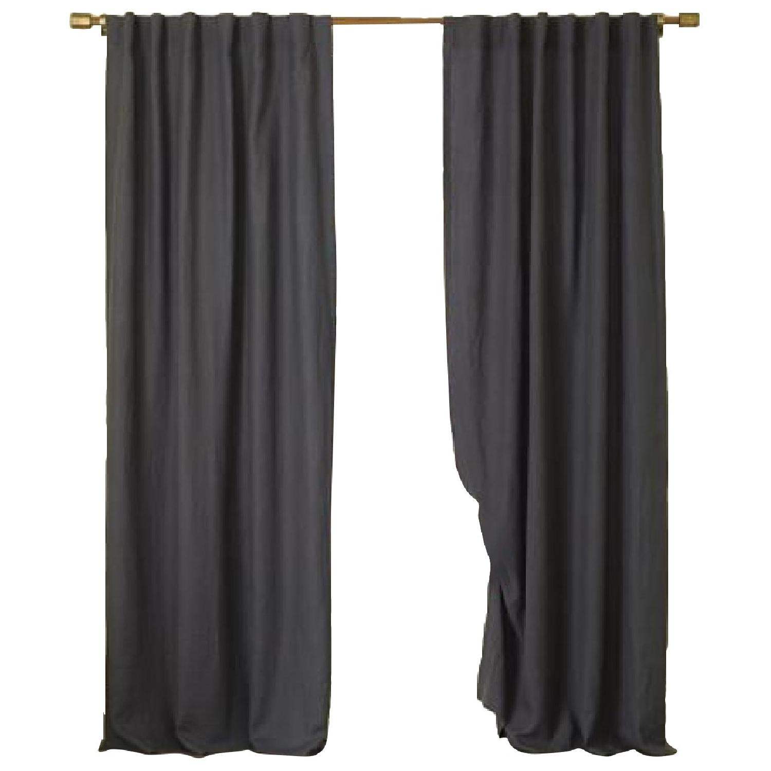 West Elm Belgian Linen Blackout Curtains w/ CB2 Curtain Rod