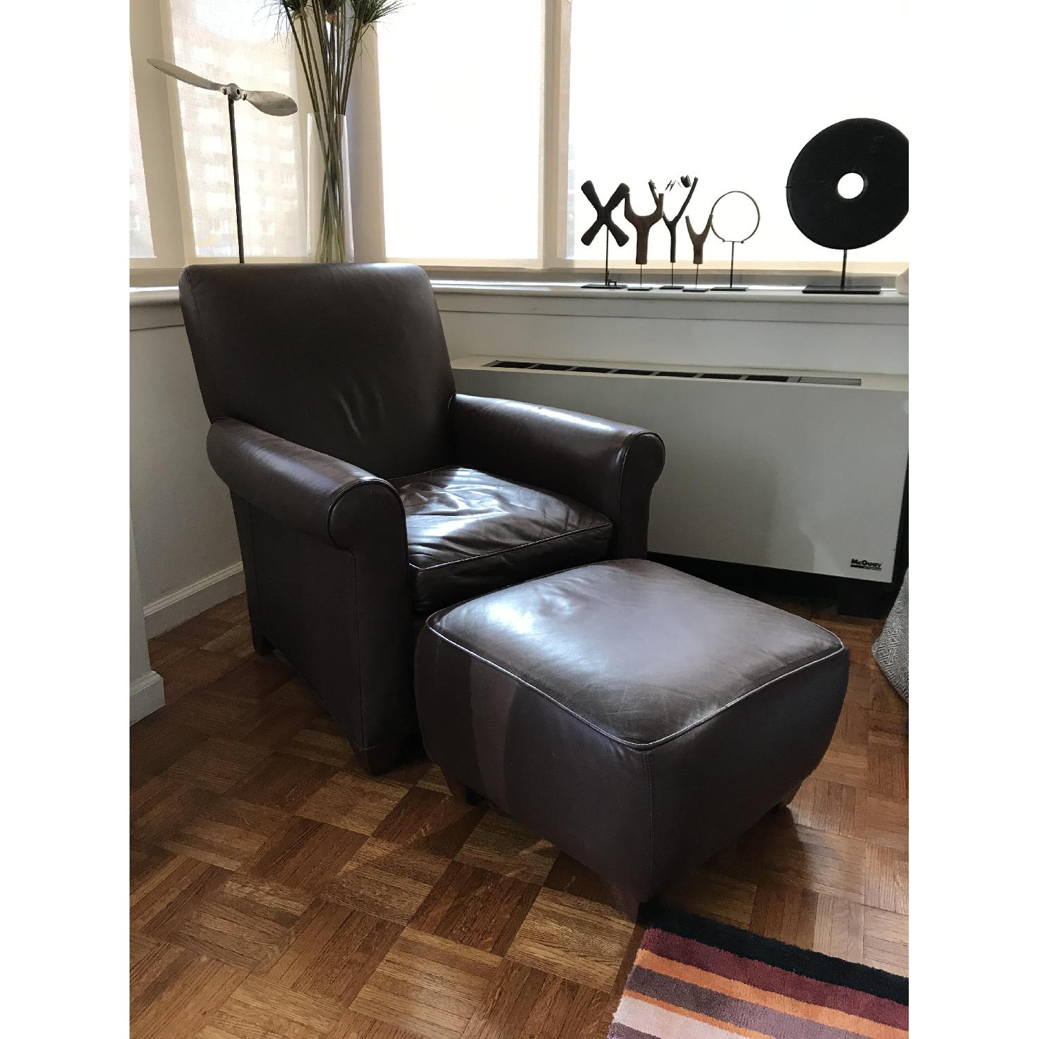 Crate & Barrel Leather Club Chair & Ottoman - image-1