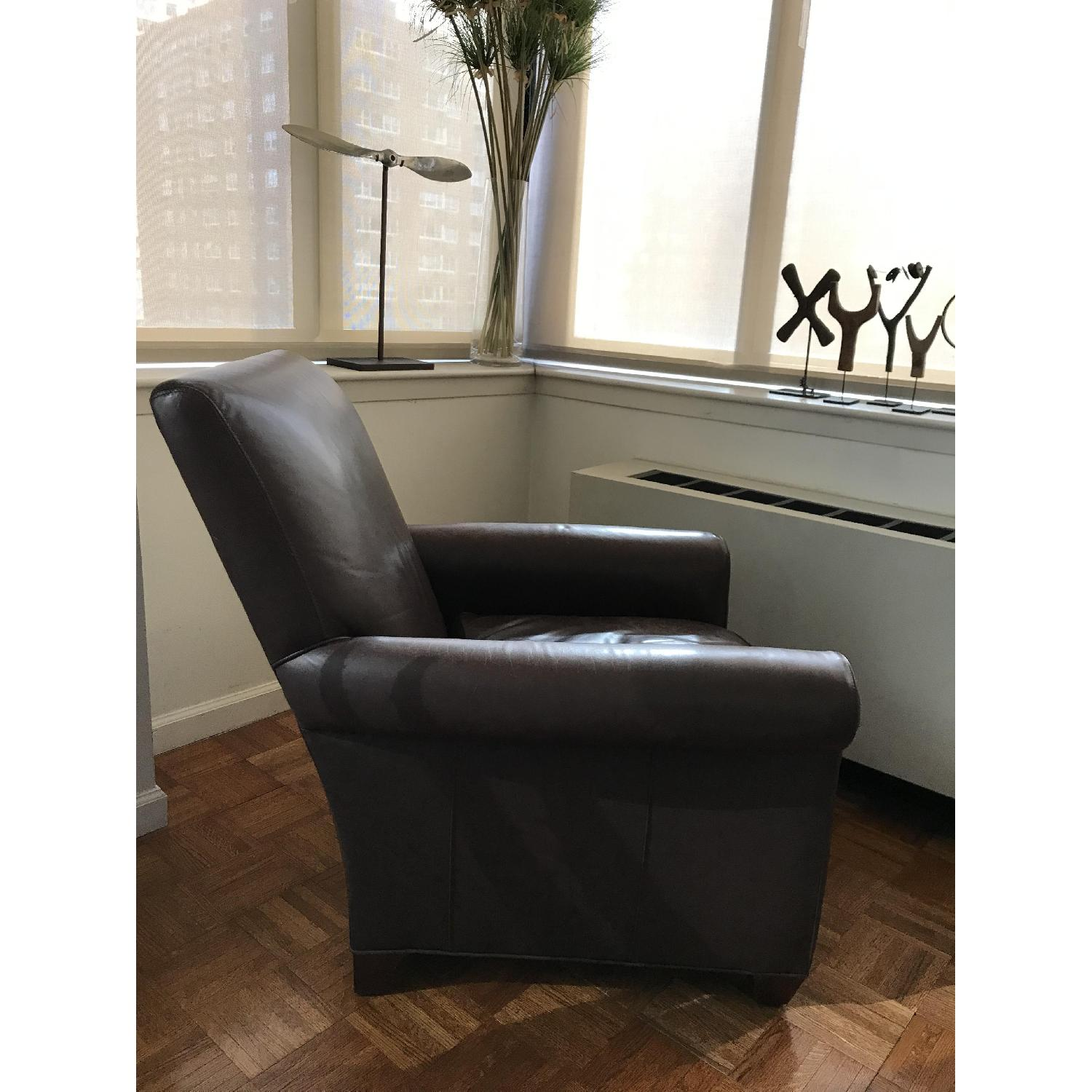 Crate & Barrel Leather Club Chair & Ottoman - image-3