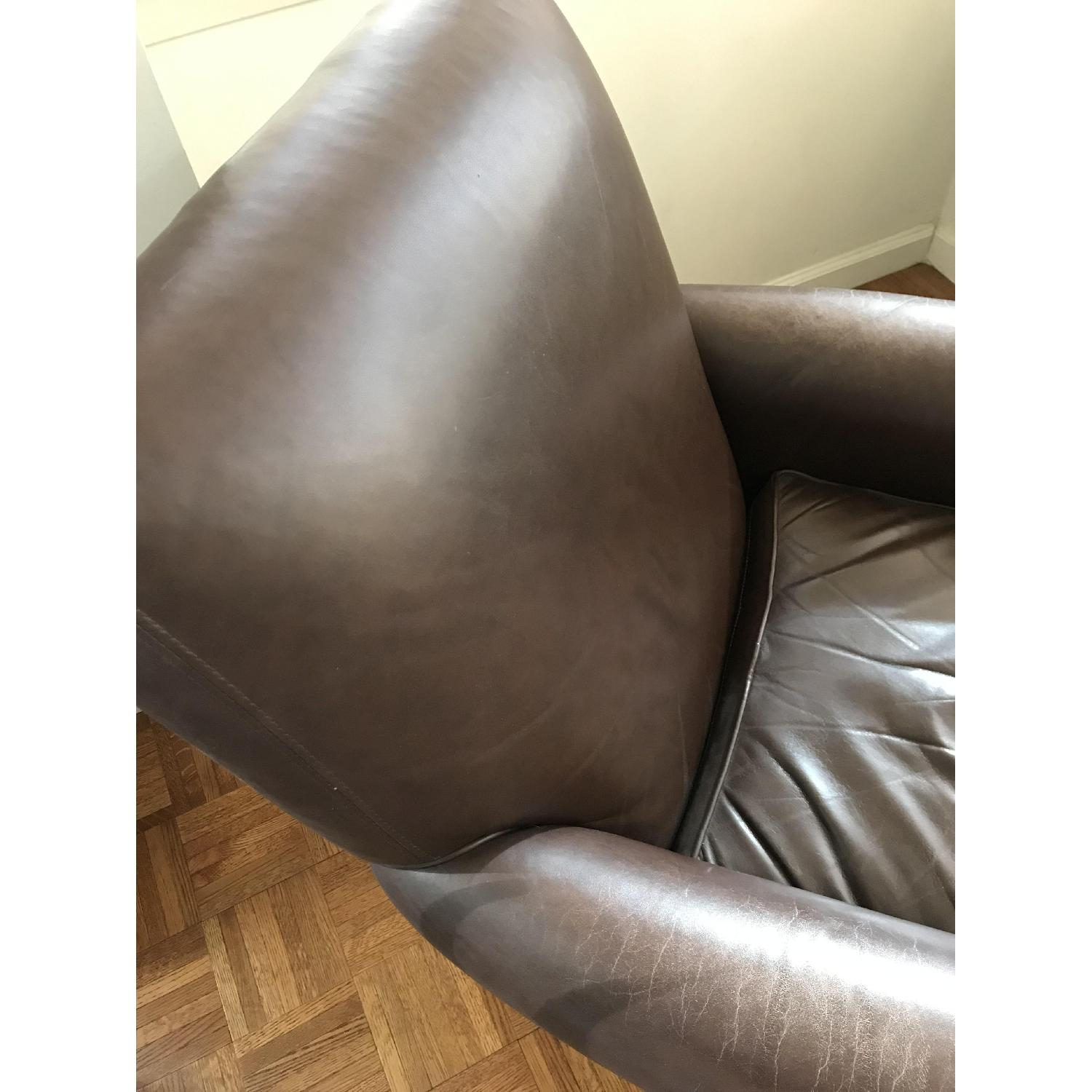 Crate & Barrel Leather Club Chair & Ottoman - image-4