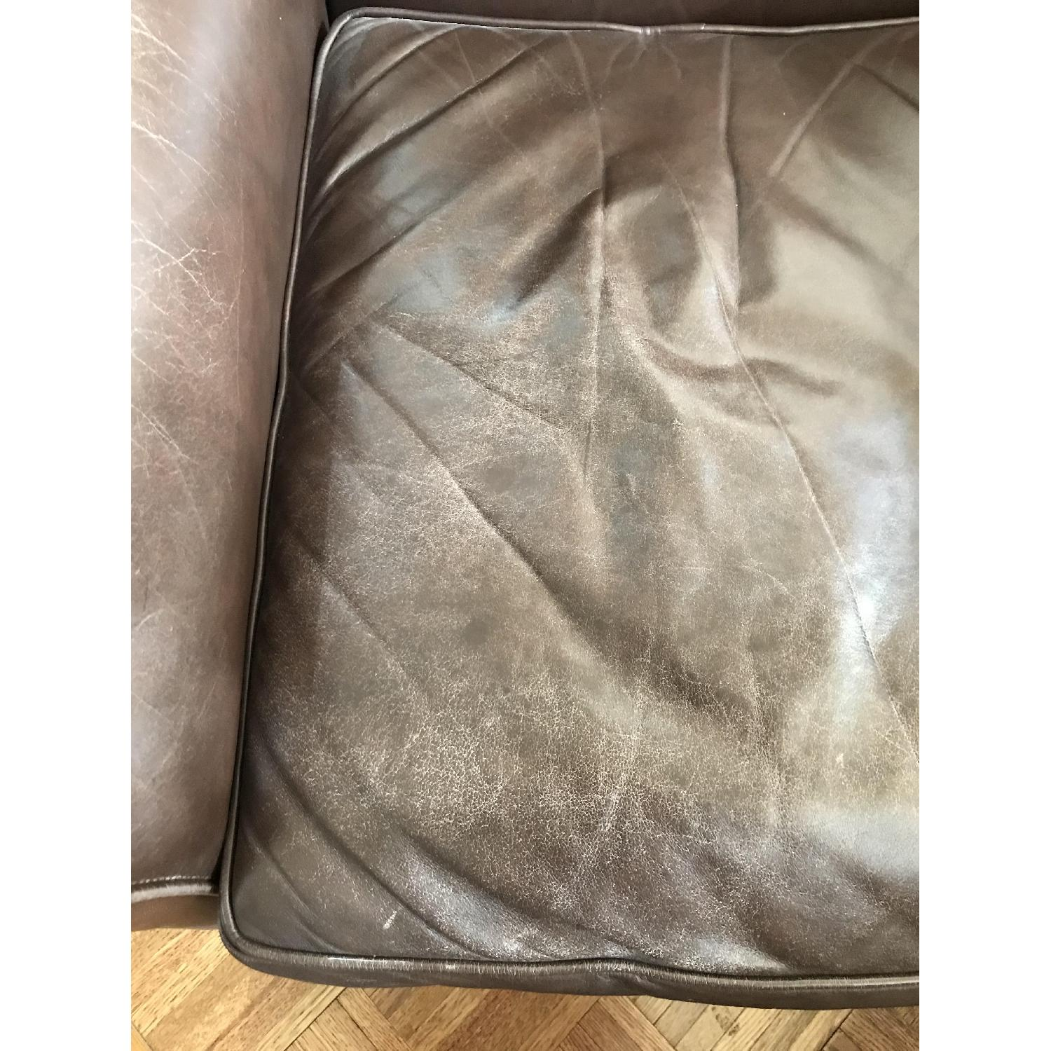 Crate & Barrel Leather Club Chair & Ottoman - image-5