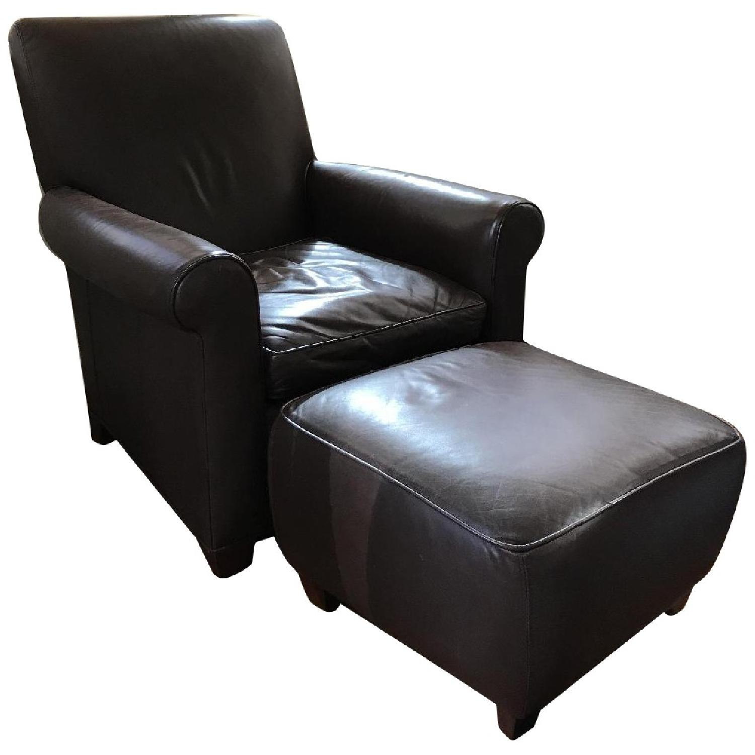 Crate & Barrel Leather Club Chair & Ottoman - image-0