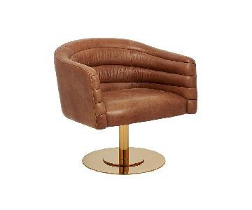 CB2 Cupa Saddle Leather Swivel Base Armchair