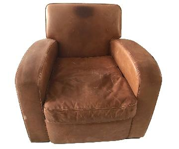 French Art Deco Leather Rollback Club Chair