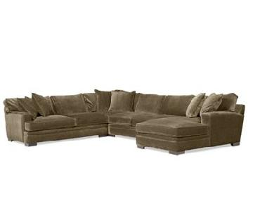 Macy's Brown/Dark Olive 3-Piece Sectional Sofa