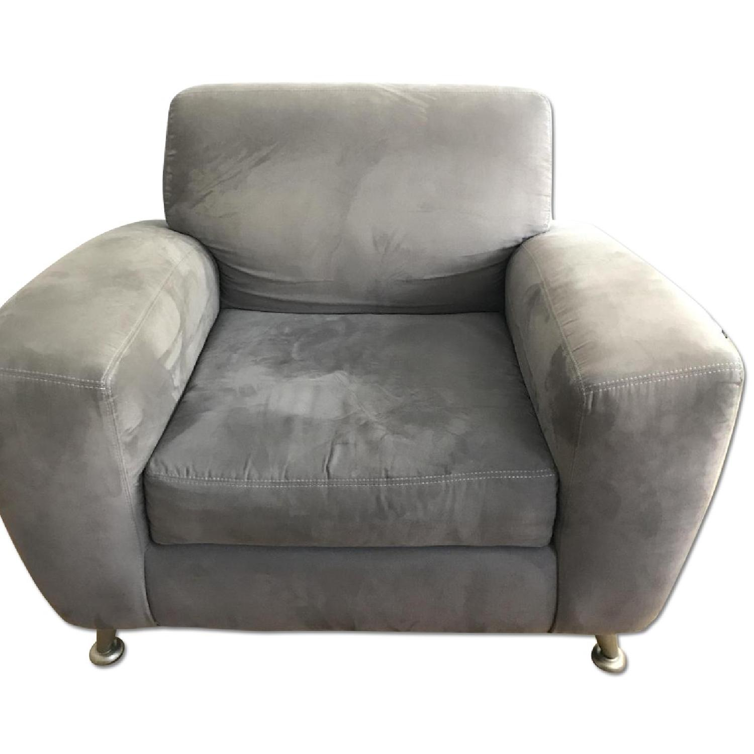 Gray Microsuede Arm Chair