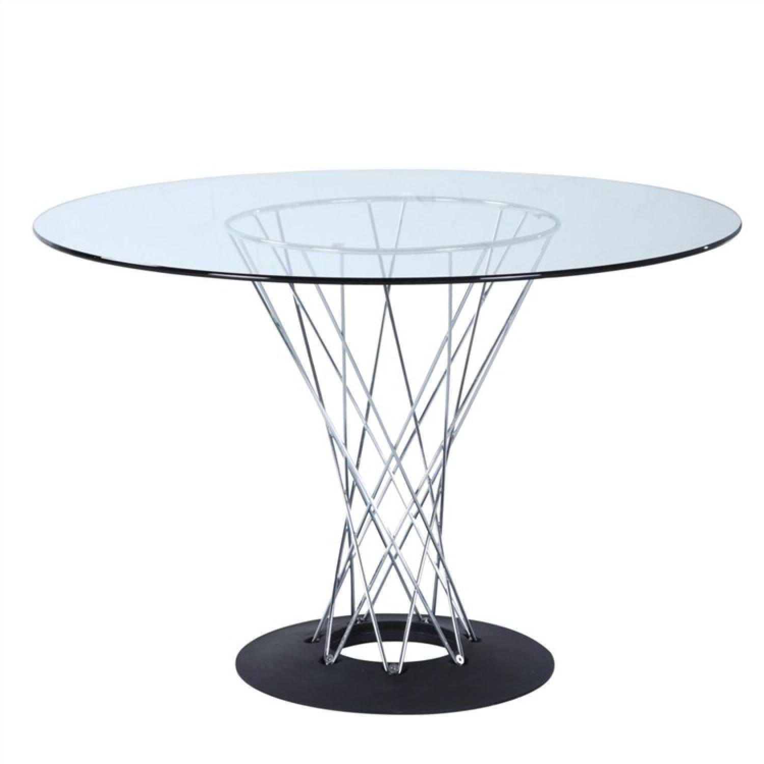 Retro Style Dining Table w/ Tempered Glass Top & Chrome Base