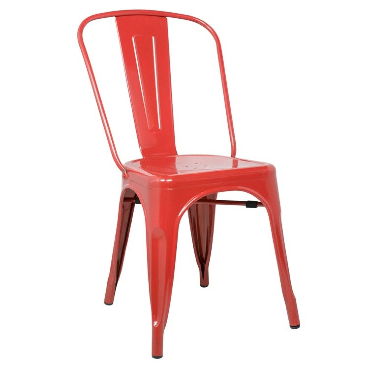 Classic Style Stackable Indoor/Outdoor Steel Chair In Red Fi
