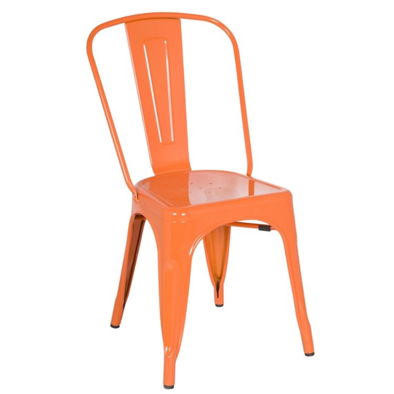 Classic Style Stackable Indoor/Outdoor Steel Chair In Orange