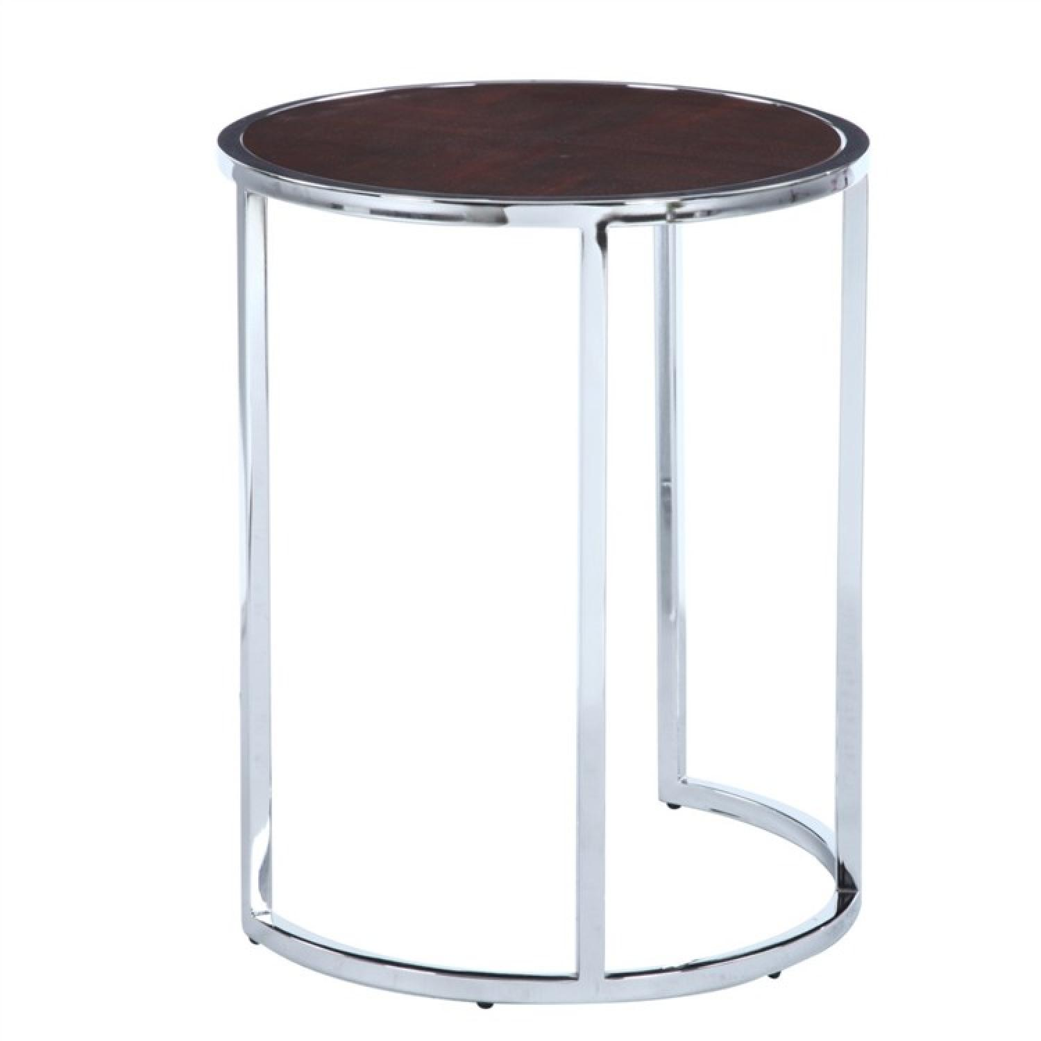 Modern Round Side Table w/ Chrome Frame & Walnut Finished To