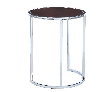 Modern Round Side Table w/ Chrome Frame & Walnut Finished To