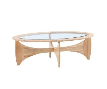 Oval Shaped Coffee Table in Solid Wood Frame w/ Glass Inlaid