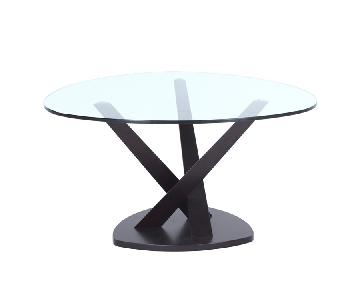 Modern Style Coffee Table w/ Tempered Glass Top & Black Wood