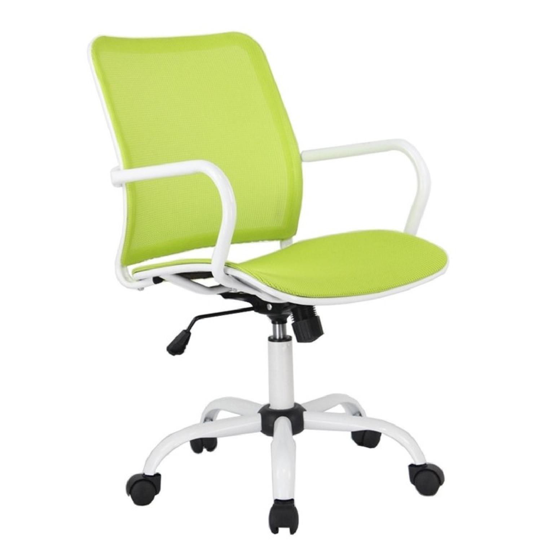 White Metal Frame Modern Office Chair w/ Green Mesh Seat & B