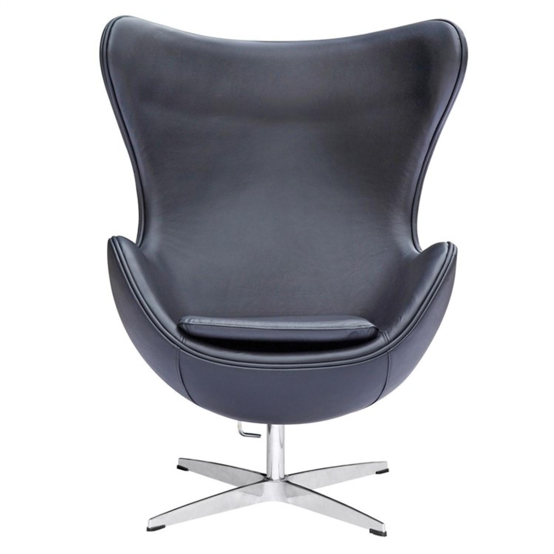 Mid Century Style Accent Chair in Fiberglass Frame & Premium Italian Black Leather & Aluminum Base