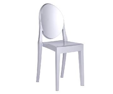Modern Stackable Dining Chair in Scratch & Weather Resistant Acrylic in Silver Color