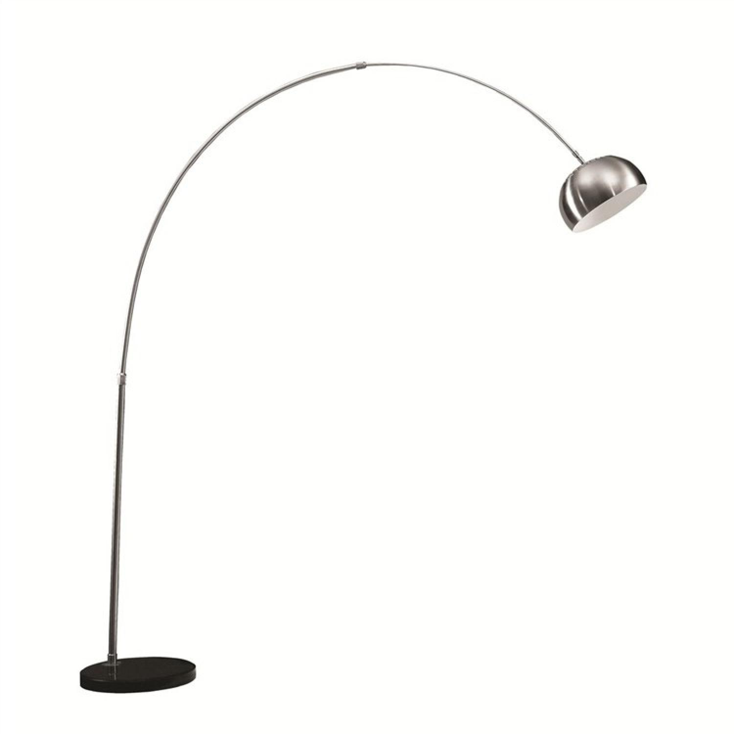 Modern Arch Lamp w/ Polished Stainless Steel Body & Round Bl - image-0