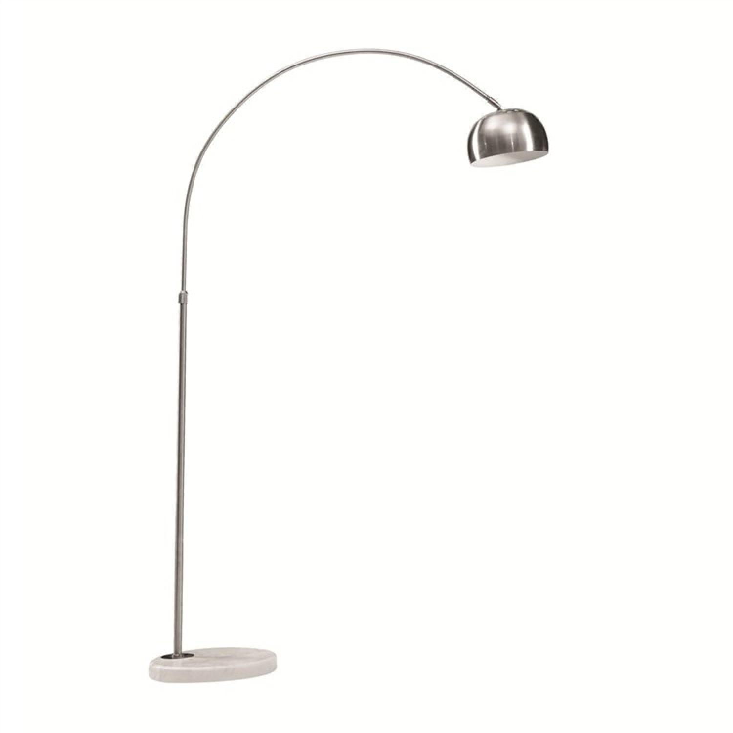 Modern Arch Lamp w/ Polished Stainless Steel Body & Round White Marble Base - image-1