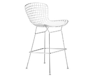 Retro Style Wire Bar Chair w/ White Seat