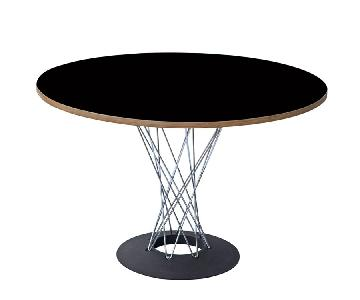 Retro Style Dining Table w/ Wire Legs & Round Black Top