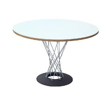 Retro Style Dining Table w/ Wire Legs & Round White Top