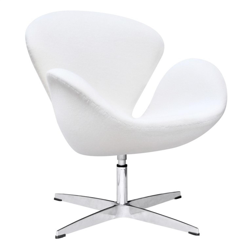 Mid Century Style Swivel Accent Chair In Premium White