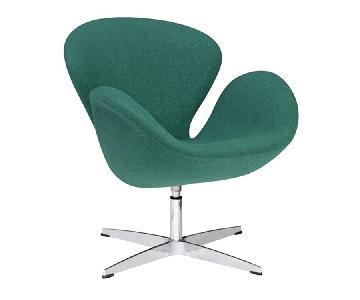 Mid Century Style Swivel Accent Chair in Premium Green Wool Fabric