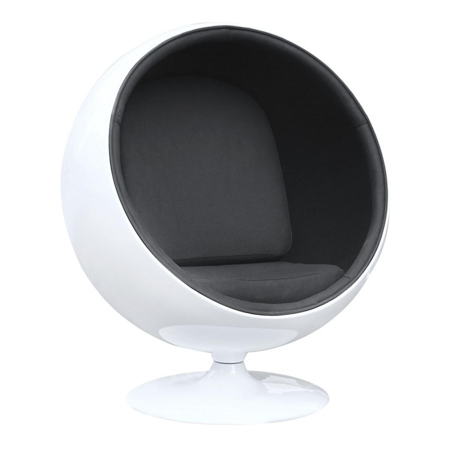 Retro Style Ball Chair in White Fiberglass w/ Black Fabric Interior